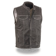 Men's Distressed Grey Open Neck Snap/Zip Front Club Style Vest - highwayleather