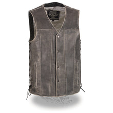Men's Distressed Gray Straight Bottom Side Lace Vest - highwayleather