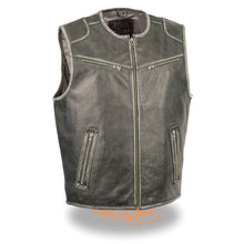 Men's Vintage Distressed Zipper Front Vest - highwayleather