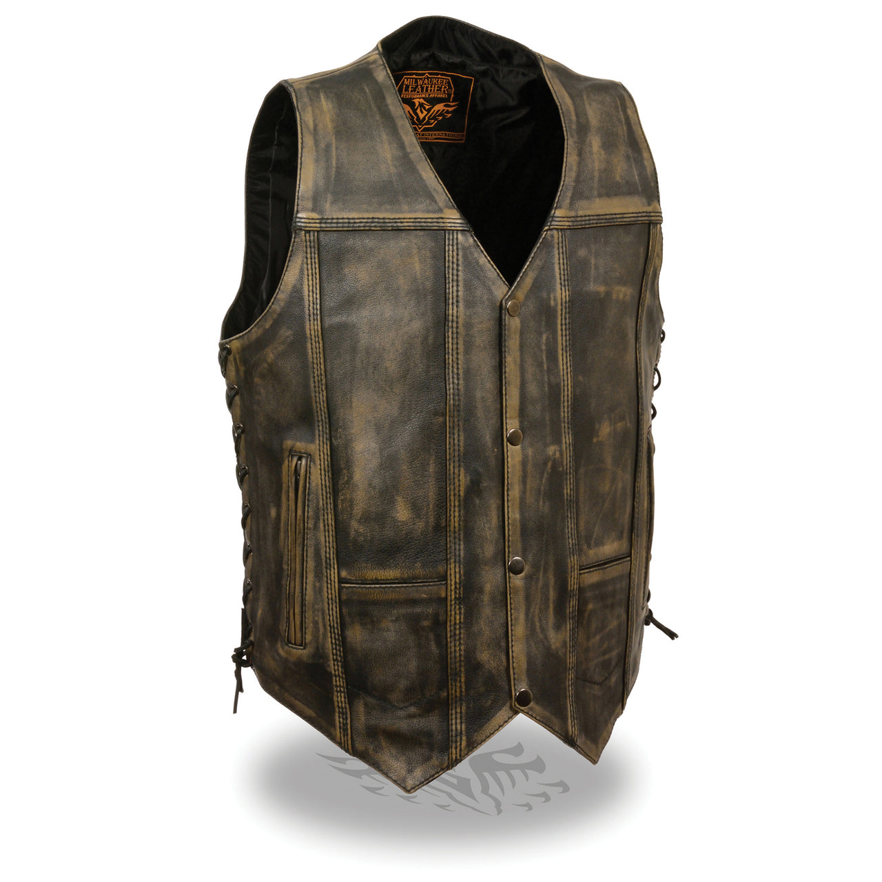 Men's Brown Distressed 10 Pocket Vest - HighwayLeather