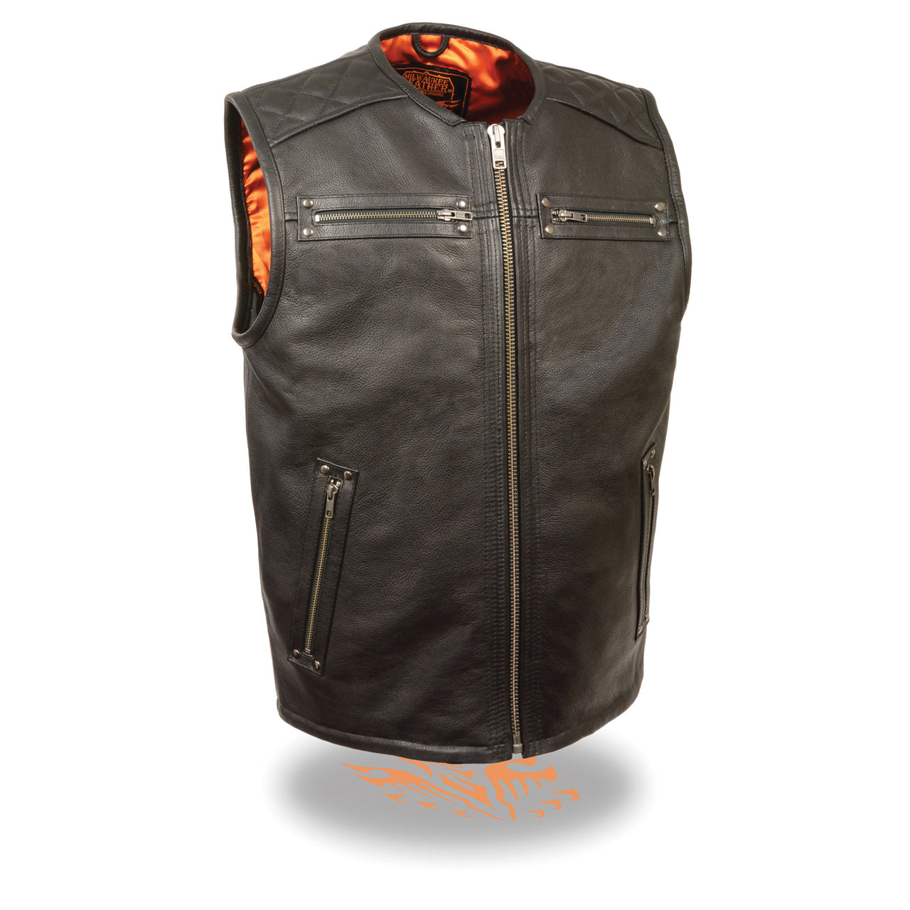 Men's Zipper Front Long Length Leather Vest - HighwayLeather