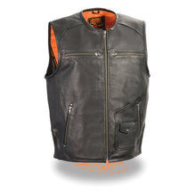 Men's Zipper Front Vest w/ Side Stretch Flex - highwayleather
