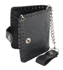 5X4 Men's Black Flying Eagle Braided Biker Wallet w/ Steel Chain - HighwayLeather