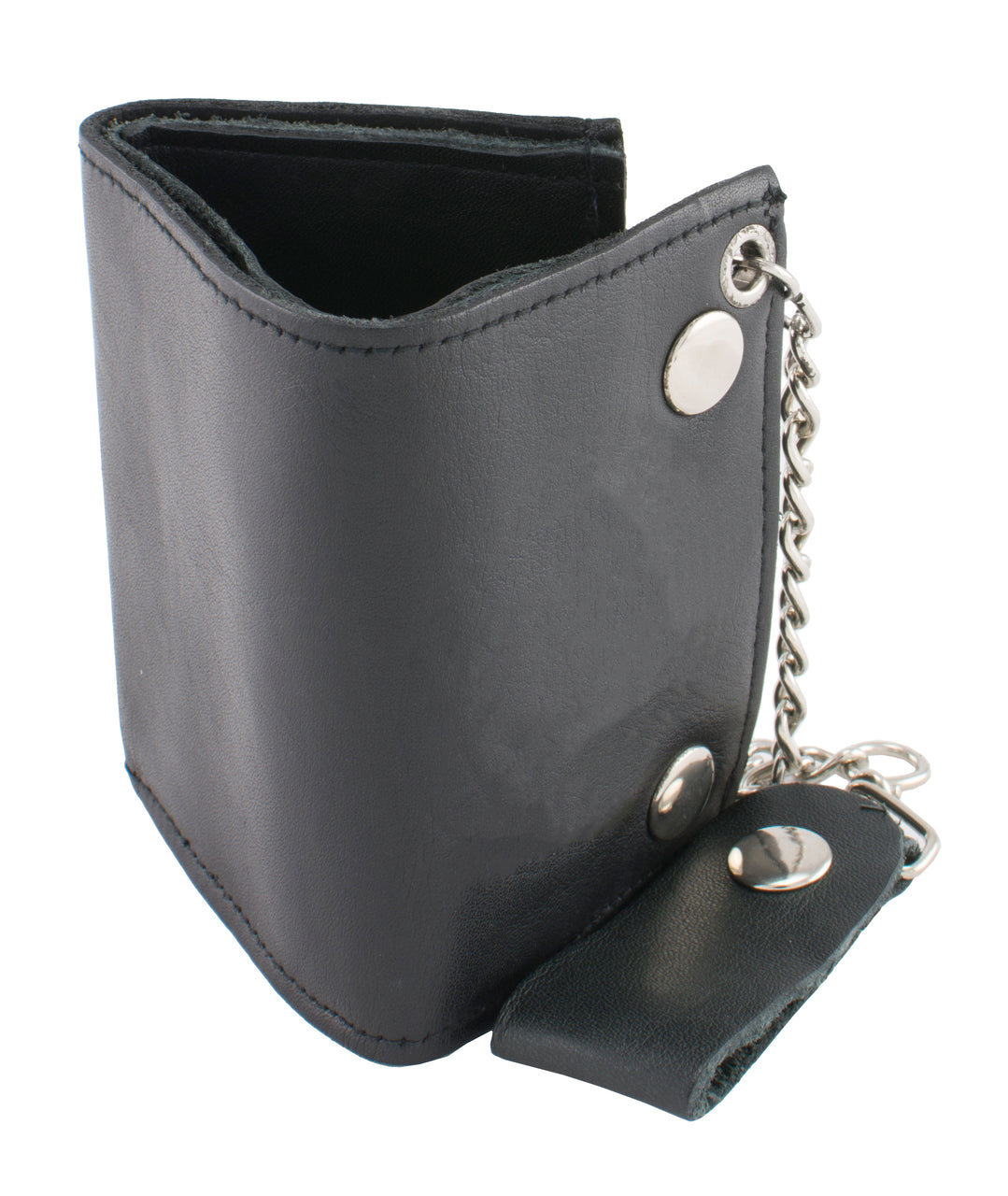 4X3 Men's Small Leather Tri-Fold Wallet w/ Steel Chain - HighwayLeather