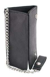(7X4) Men's Soft Naked Cowhide Tri-Fold Long Wallet w/ Steel Chain - HighwayLeather