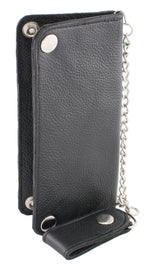 (7X3.5) Men's Bi-Fold Long Wallet w/ Steel Chain - HighwayLeather
