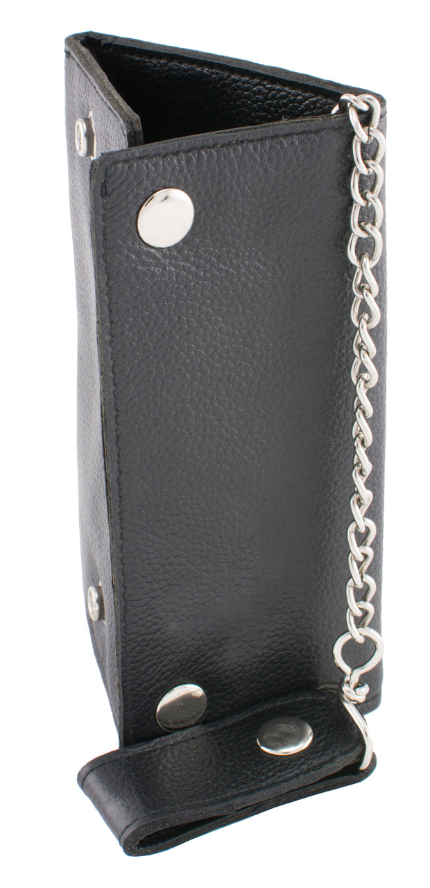 (7X3.75) Men's Tri-Fold Long Wallet w/ Steel Chain - HighwayLeather