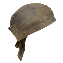 Distressed Brown Leather Skull Cap - HighwayLeather