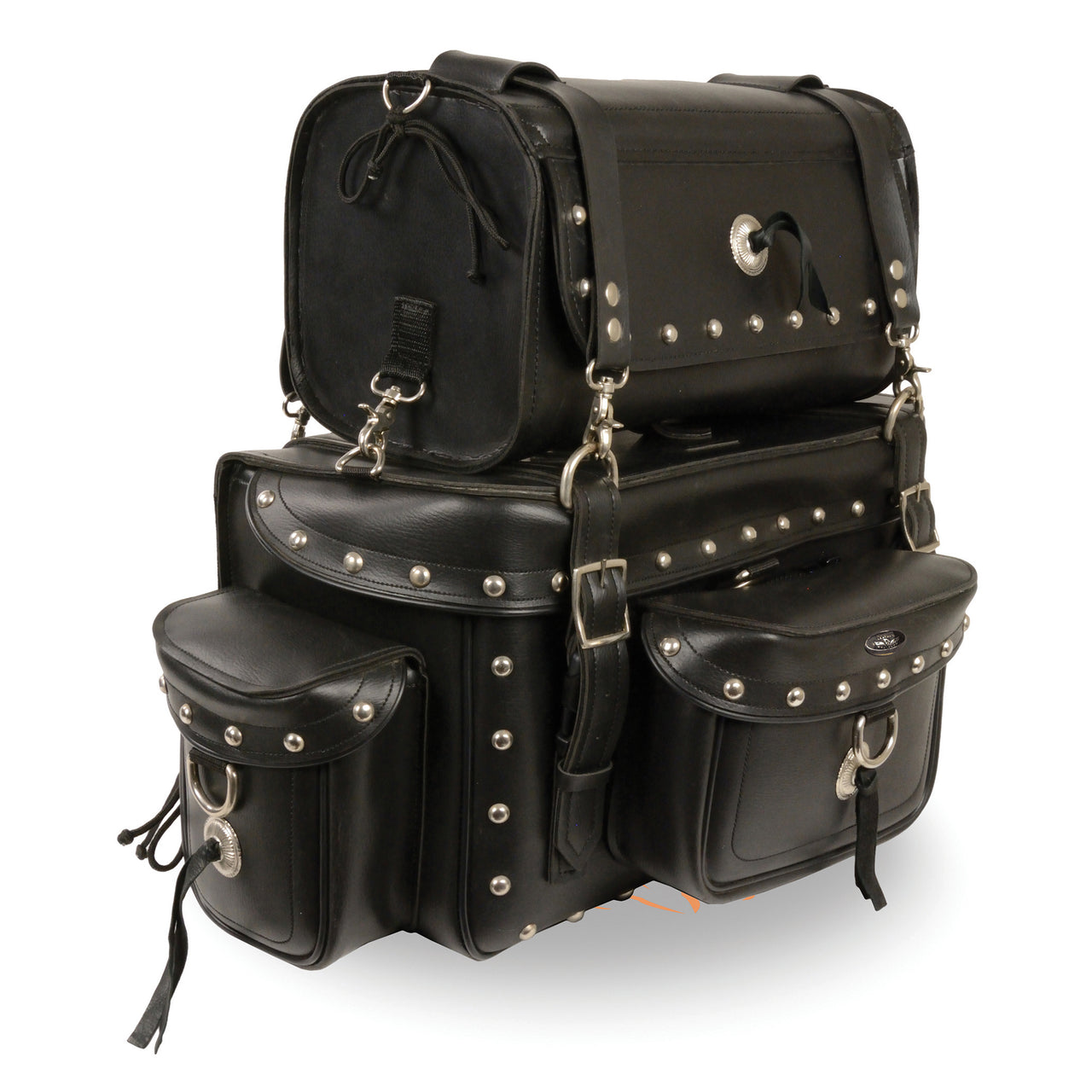 Two Piece Studded Touring Pack Sissy Bar Bag (18X12X9) - HighwayLeather
