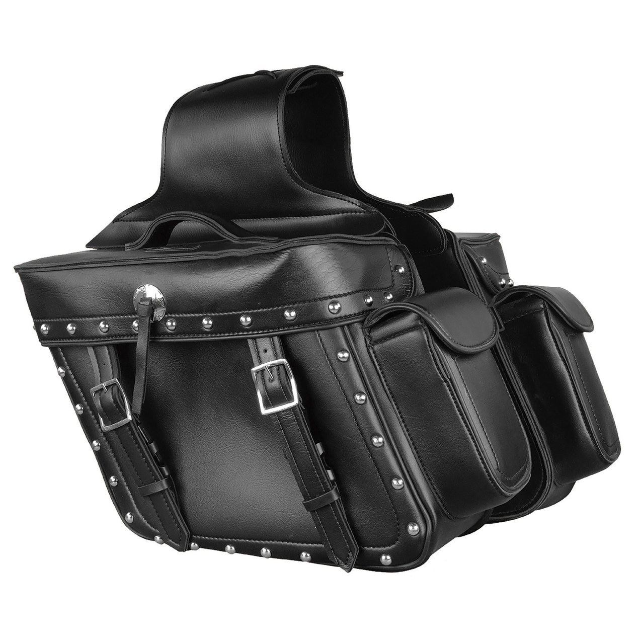 Zip Off PVC Studded Throw Over Saddle Bag w/ Bonus Side Pockets (14X12X6X21) - HighwayLeather