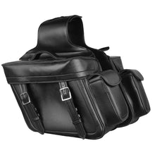 Zip Off PVC Throw Over Saddle Bag w/ Bonus Side Pockets (14X12X6X21) - highwayleather