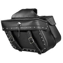 Zip Off PVC Studded Throw Over Saddle Bag w/ Double Strap Front (14.5X9.5X6X19.5) - HighwayLeather