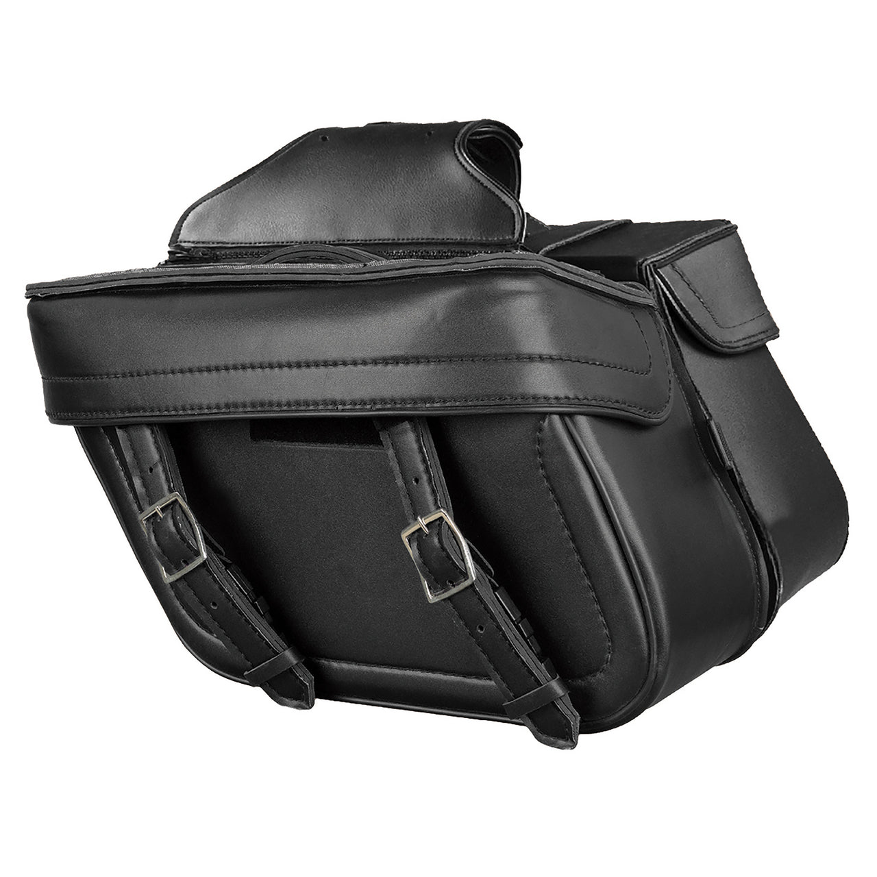 Zip Off PVC Throw Over Saddle Bag w/ Double Strap Front (14.5X9.5X6X19.5) - HighwayLeather