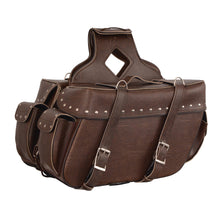 Large Antique Brown Zip-Off PVC Throw Over Riveted Saddle Bag (16X11X6X22) - HighwayLeather