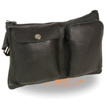 Unisex Black Leather Belt Bag w/ Gun Holster - HighwayLeather