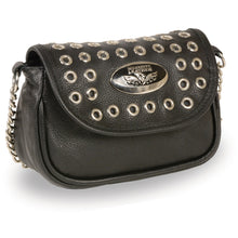Ladies Chain Strap Leather Shoulder Bag w/ Eyelets - HighwayLeather