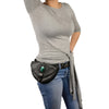 Unisex Hand Braided Leather Hip Bag w/ Stone Inlay & Gun Holster - HighwayLeather