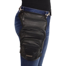 Large Conceal & Carry Black Leather Thigh Bag w/ Waist Belt - HighwayLeather