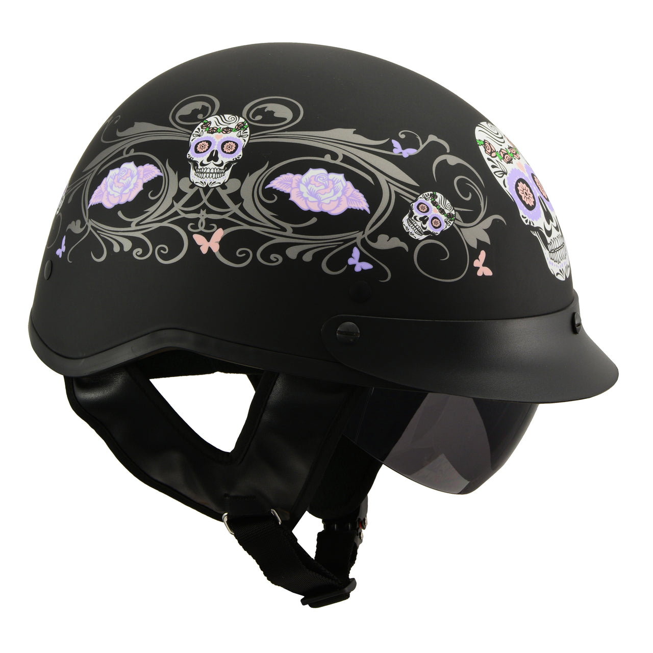 MPH DOT Helmet w/ Drop Sun Visor Sugar Skull Graphic Shiny Black - HighwayLeather