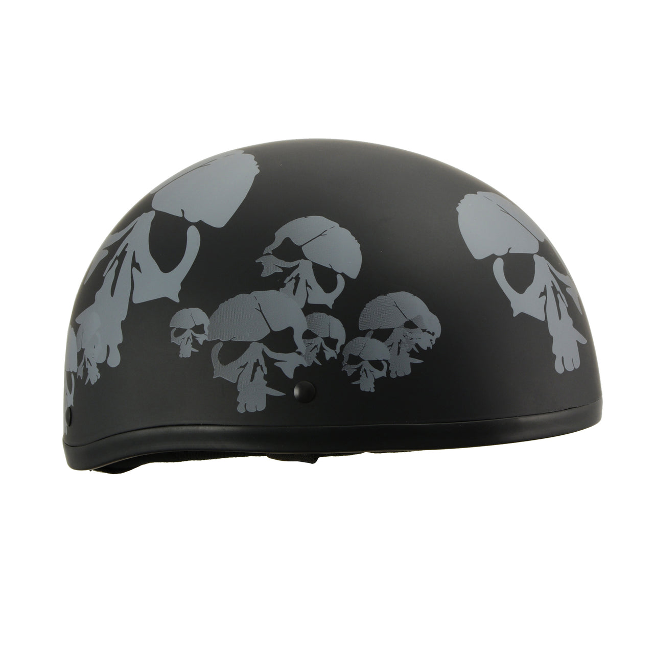 MPH America's Smallest DOT Helmet w/ Skeleton Head Graphics Matte Black - HighwayLeather