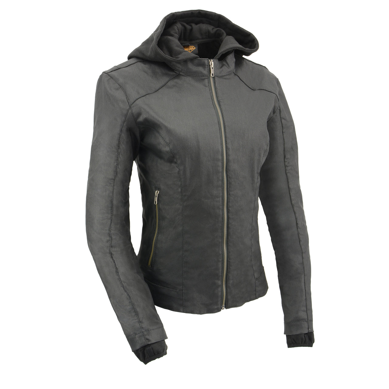 Women Black Zipper Front Jacket with Full Sleeve Removable Hoodie - HighwayLeather