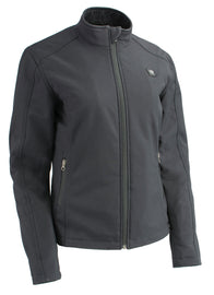Women Zipper Front Heated Soft Shell Jacket w/ Front & Back Heating Elements - HighwayLeather