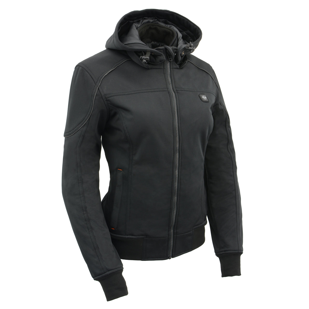 Womens Soft Shell Heated Racing Style Jacket with Detachable Hood - HighwayLeather