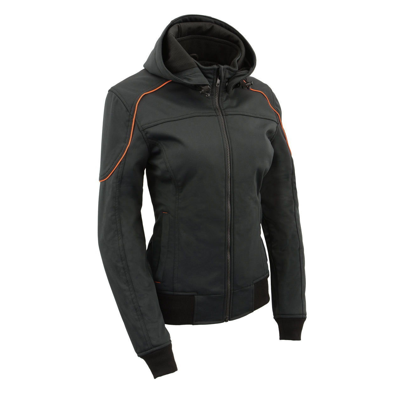 Women Soft Shell Armored Racing Style Jacket with Detachable Hood - HighwayLeather