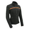 Women Micro Fleece Zipper Front Jacket w/ Orange Stripe - HighwayLeather