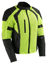 Ladies High Visibility Mesh Racer Jacket w/ Reflective Piping - HighwayLeather