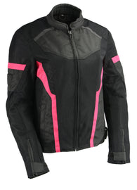 Women Black & Fuchsia Mesh Racer Jacket w/ Reflective Piping - HighwayLeather