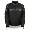 Men's Textile Scooter Jacket w/ Leather Trim and Snap Collar - HighwayLeather
