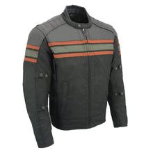 Mens Combo Leather & Textile Armored Racing Stripe Jacket - HighwayLeather
