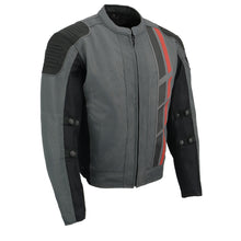 Mens Black & Grey Mesh Armored Racing Jacket w/ Racing Stripes - highwayleather