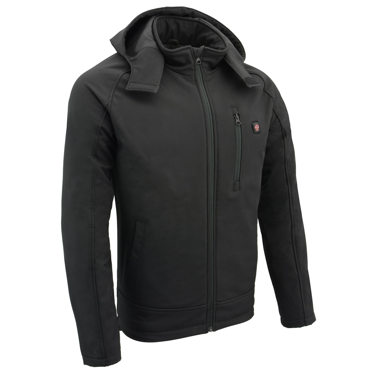 Mens Soft Shell Heated Zipper Front  Jacket w/ Detachable Hood - HighwayLeather