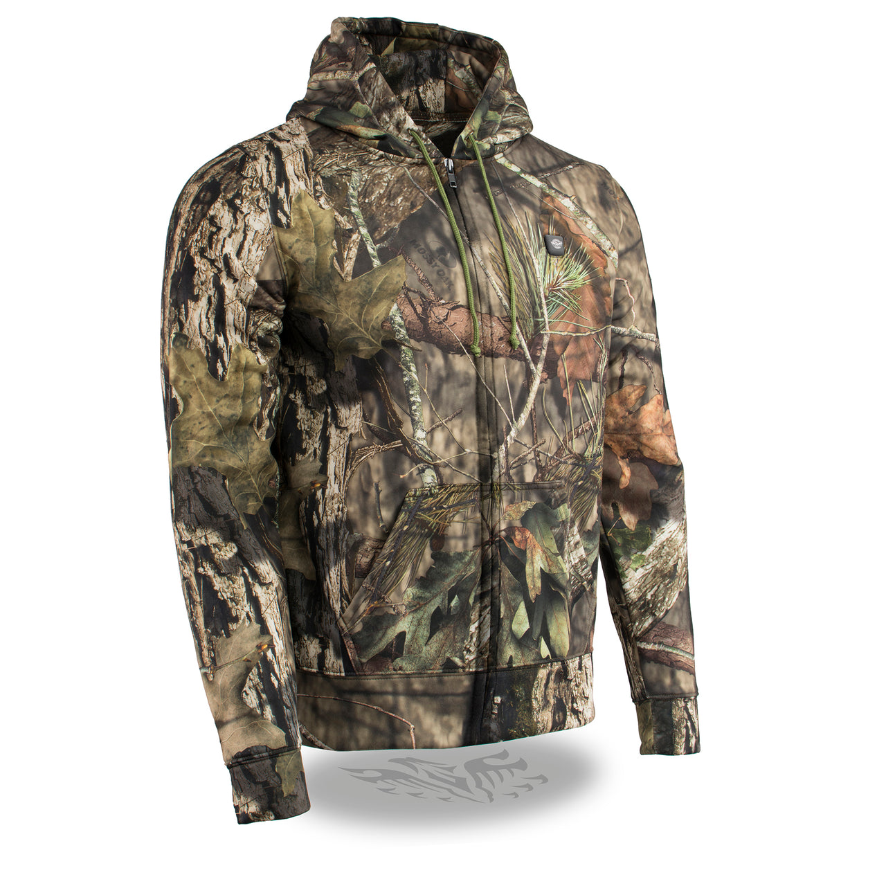 Men's Zipper Front Mossy Camo Heated Hoodie w/ Front & Back Heating - HighwayLeather
