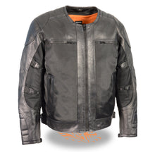 Men's Leather & Mesh Racer Jacket w/ Removable Rain Jacket Liner - HighwayLeather