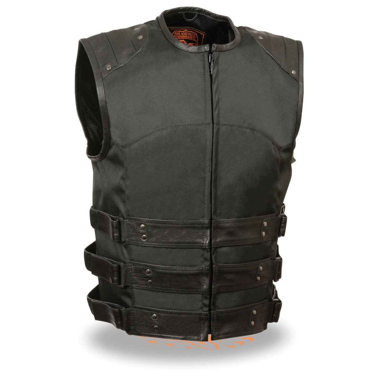 Men's Zipper Front Assault Leather/Textile Vest - HighwayLeather
