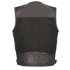 Men's Leather & Canvas Zipper Front Super Utility Multi Pocket Vest - HighwayLeather