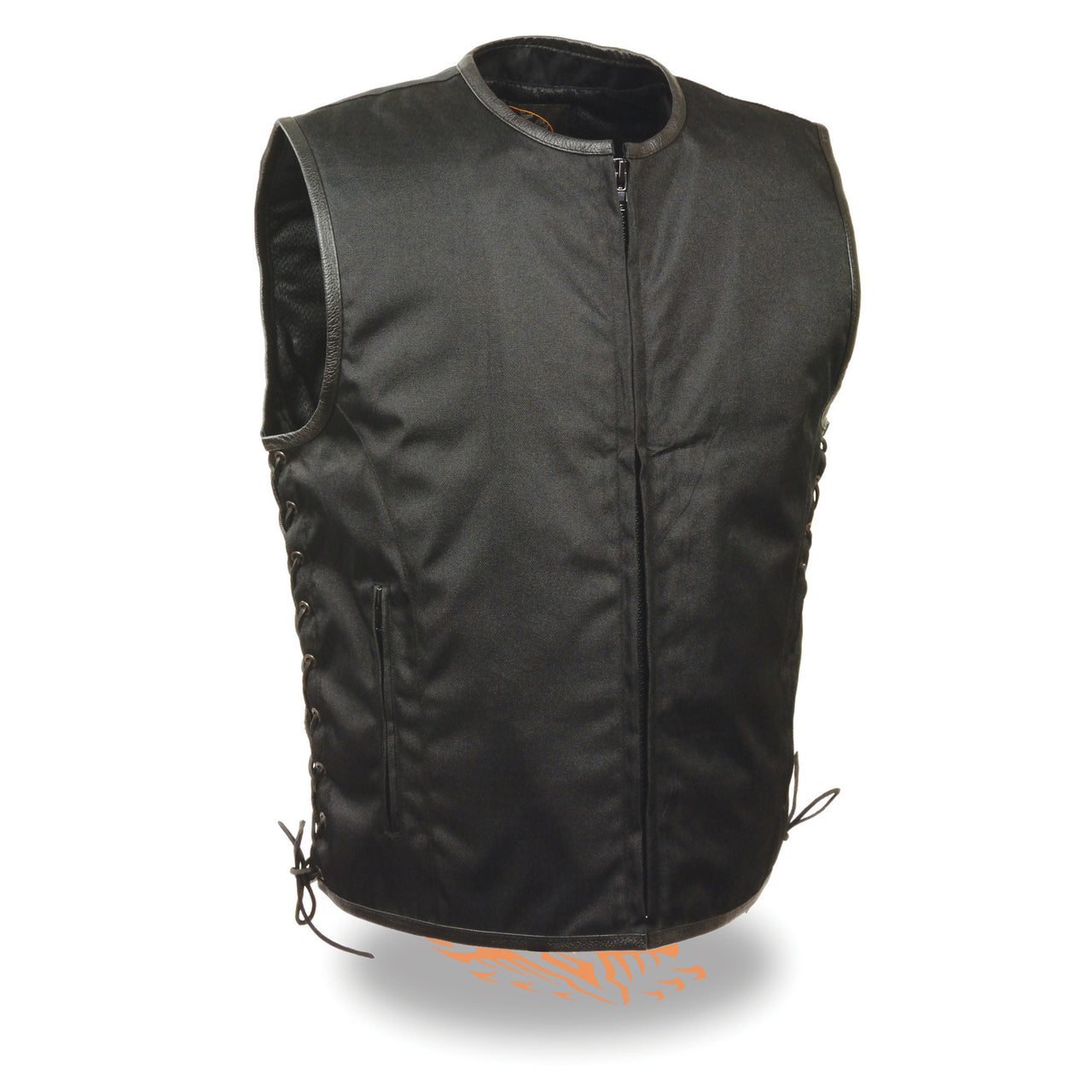 Men's Textile Zipper Front Side Lace Vest - HighwayLeather