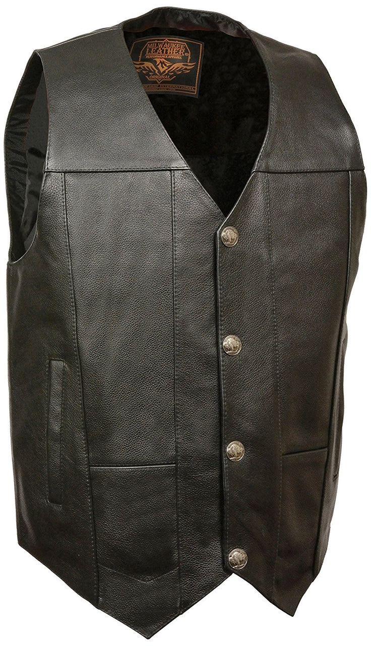 Men's Plain Side Vest w/ Buffalo Snaps - highwayleather