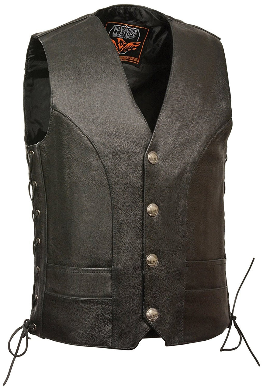 Men's Premium Side Lace Leather Vest w/ Buffalo Snaps - highwayleather