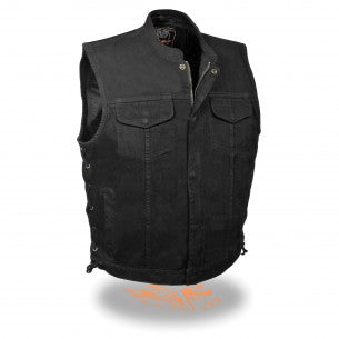 Men's Side Lace Denim Club Vest w/ Hidden Zipper - highwayleather