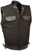 Men's Side Lace Denim Vest w/ Leather Trim & Hidden Zipper - HighwayLeather