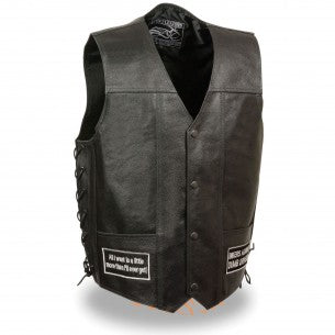 Men's Side Lace Eagle& Flag Pre-Patched Vest - HighwayLeather