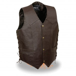 Men's Side Lace Leather Vest w/ Skull & Wings - HighwayLeather