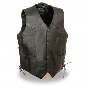 Men's Side Lace Live to Ride Vest w/ Flying Eagle - highwayleather