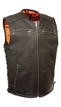 Men's Zipper Front Full Side Lace Leather Vest - HighwayLeather