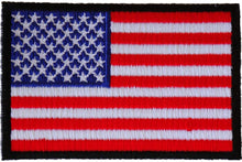 American Flag Patch with Black Borders - 3x2 inch. Embroidered Iron on Patch - SKU#2046B - HighwayLeather