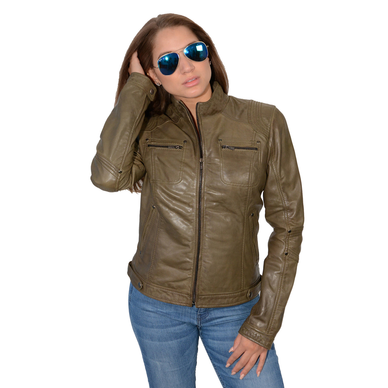 Ladies stand up collar racer jacket with rivet details - HighwayLeather